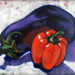 Eggplant and Pepper, Acrylic,
