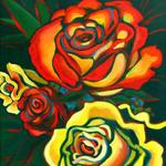 Red & Yellow Roses, Acrylic, 28h x 22w